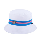 Turquoise/Pink OF Band White Bucket Hat/