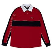 컬러 블럭 럭비 셔츠 _RED